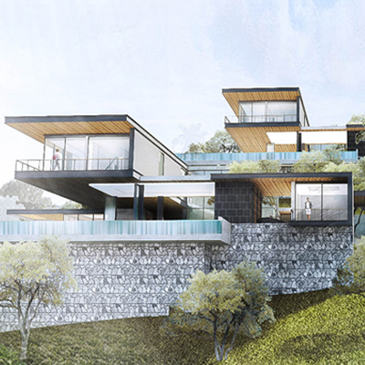 Cantilevered panoramic twin houses